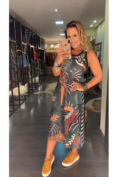 Vestido Regata Midi Estampado Bosque Tropical