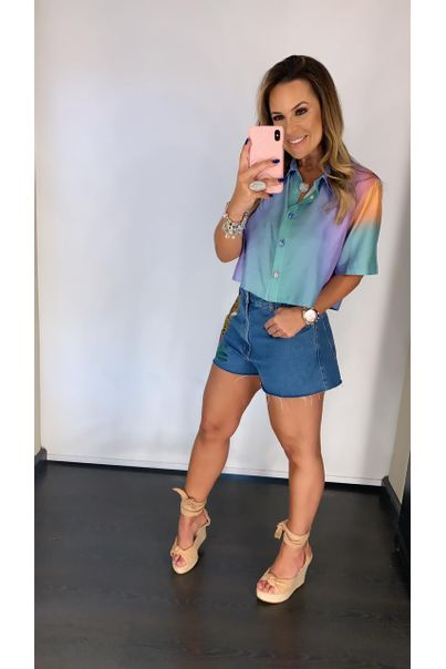Camisa Cropped Degrade Trancoso