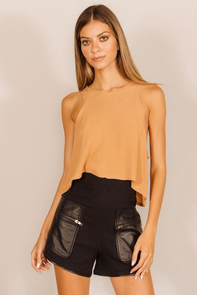 Cropped Basic A Fio Bege