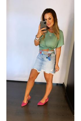 Saia Curta Jeans Tropical