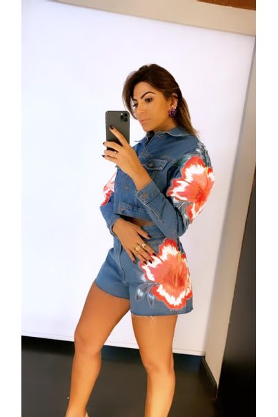 Jaqueta Jeans Floral Baiano Re
